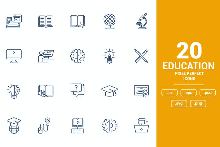 Thumbnail for Flat line icons design - Education