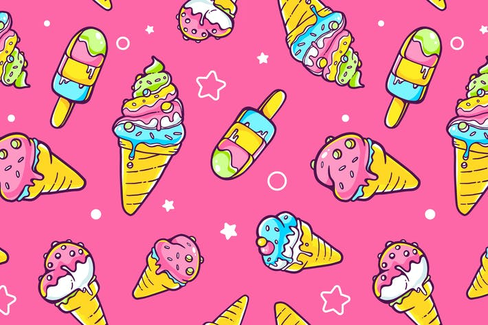 Cover Image For Set of colorful patterns with ice creams
