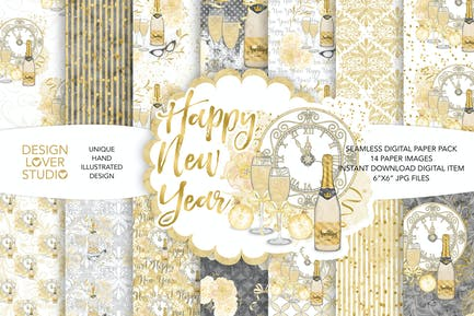 Watercolor Happy New Year digital paper pack