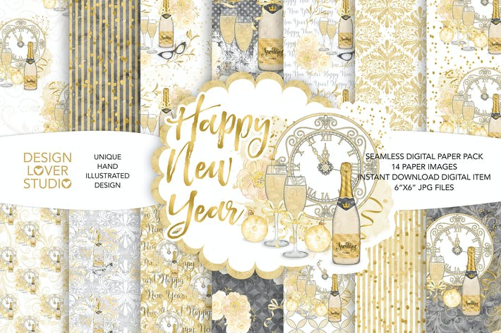 Thumbnail for Aquarell Happy New Year Digitalpapier Pack