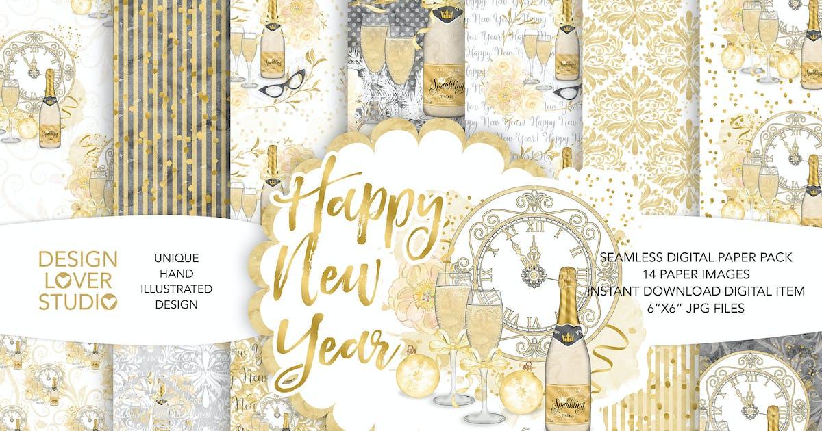 Download Watercolor Happy New Year digital paper pack by designloverstudio