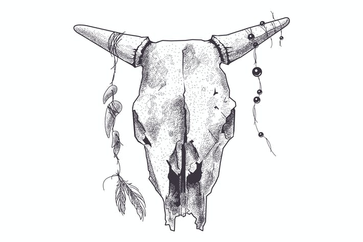 Thumbnail for Dotwork Animal Skull with Modern Street Style