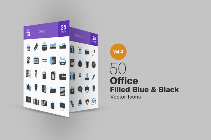 Thumbnail for 50 Office Blue & Black Icons