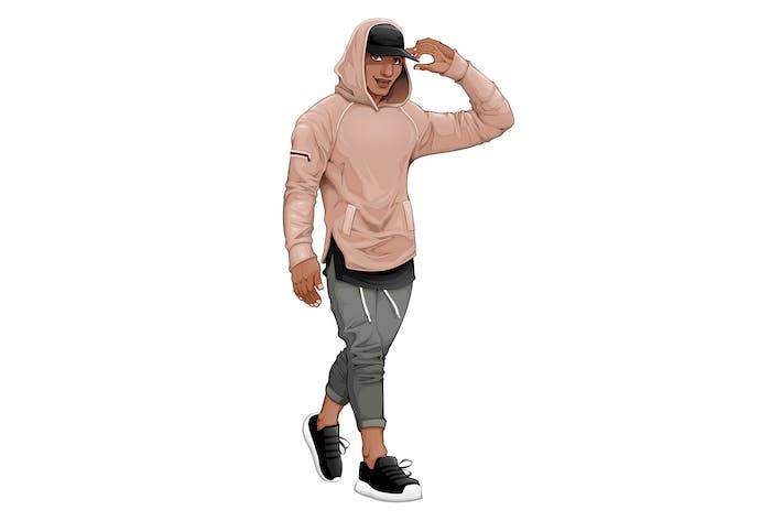 Thumbnail for Fashion Boy Walking and Touching his Visor