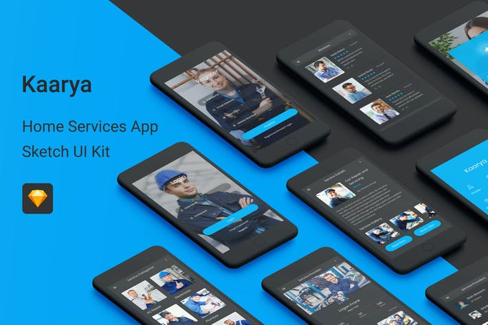 Thumbnail for Kaarya - Home Services Sketch UI Kit