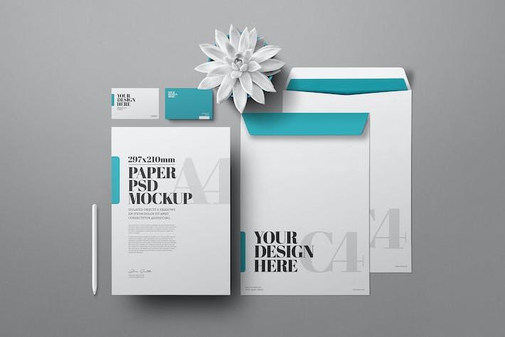 Stationery Mockup A4 C4 Envelope Business Card