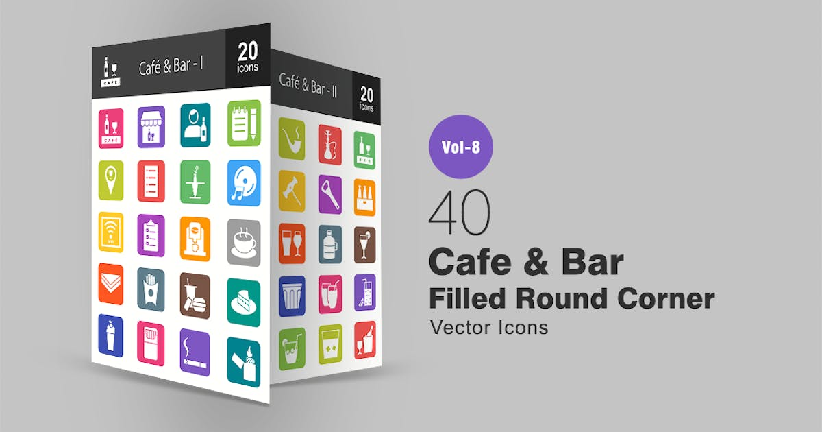 Download 40 Cafe & Bar Filled Round Corner Icons by IconBunny