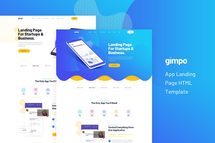 Thumbnail for Gimpo - App Landing Page HTML Template