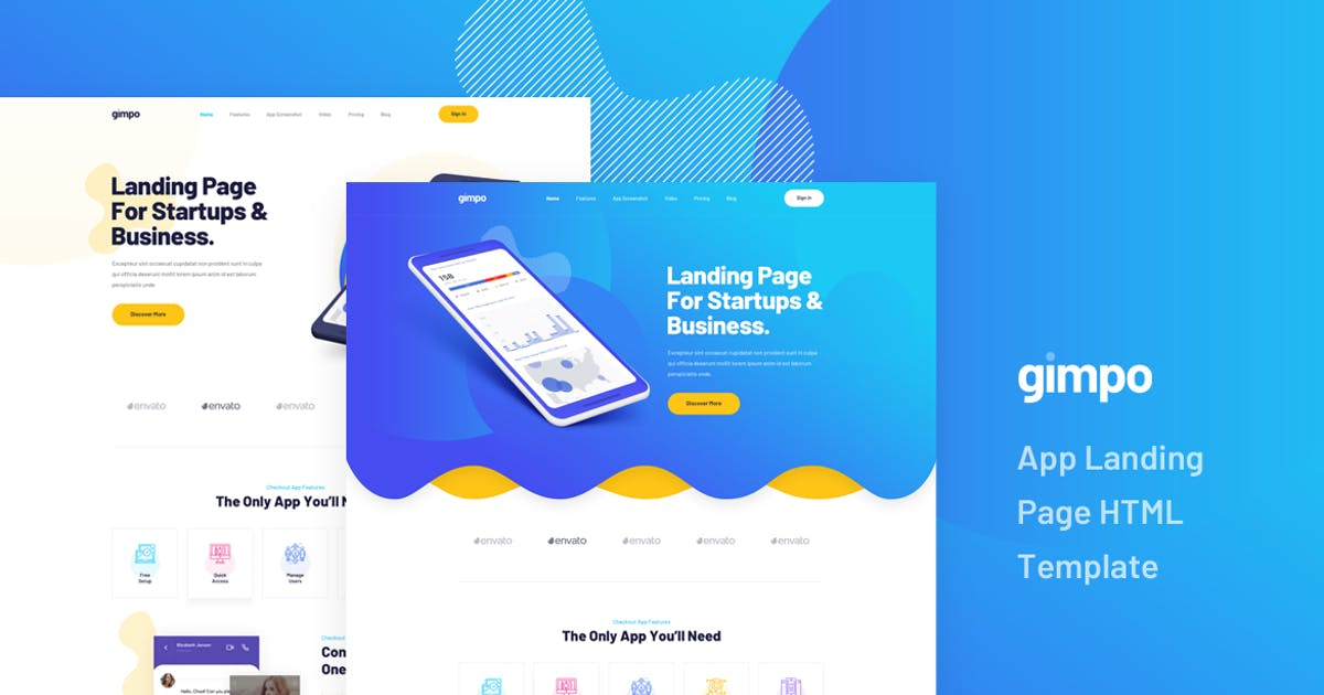 Download Gimpo - App Landing Page HTML Template by Layerdrops
