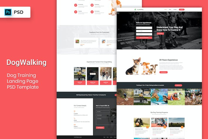 Cover Image For Dog Training - Landing Page PSD Template