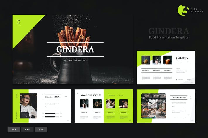 Thumbnail for Gindera - Шаблон презентации продуктов питания