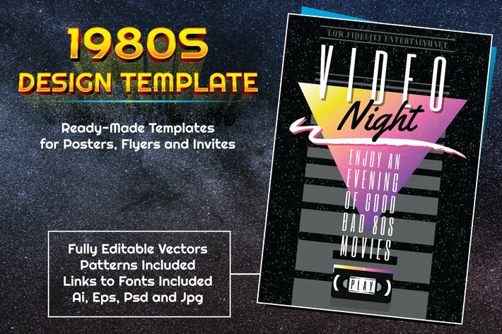 Thumbnail for 1980s Video Themed Design Template