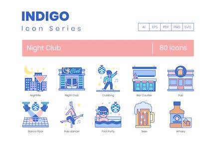 80 Night Club Line Icons