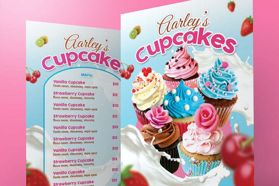 Attractive Cupcakes Menu - Pink and Blue Theme