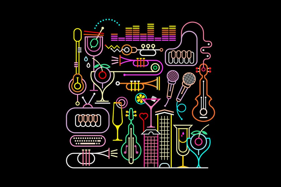 Neon Colors on a black Music Party illustration