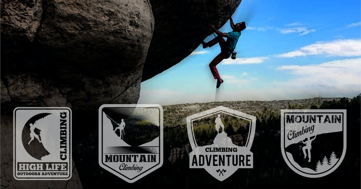 Download CLIMBING MOUNTAIN LOGOS BADGE by shazidesigns