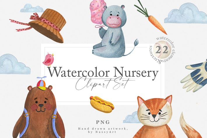 Thumbnail for Watercolor Nursery Clipart Animals