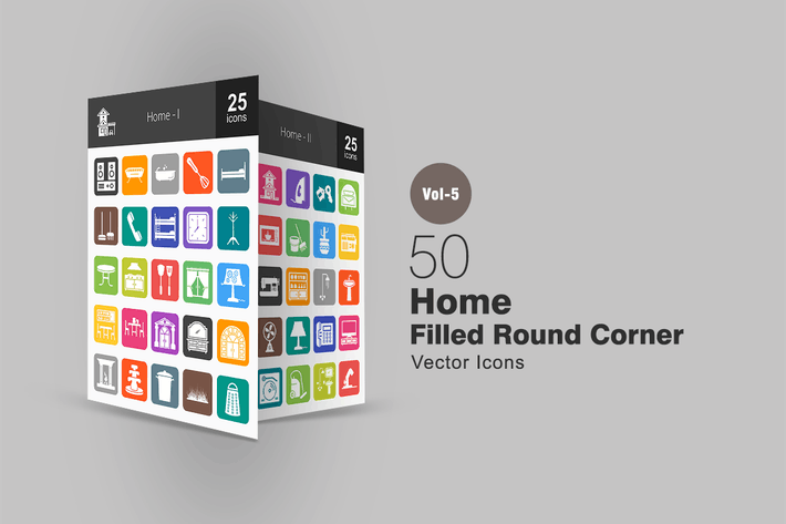 Thumbnail for 50 Home Flat Round Corner Icons