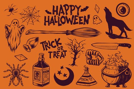 Vintage Halloween Illustration Pack 1