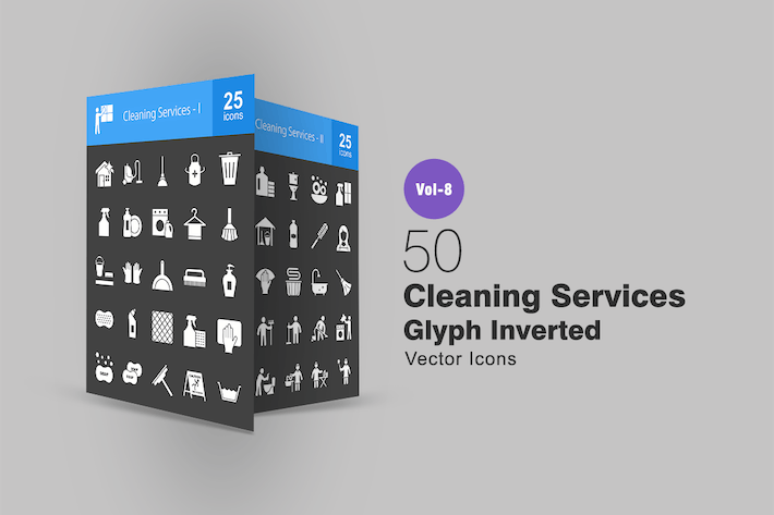 Thumbnail for 50 Cleaning Services Glyph Inverted Icons