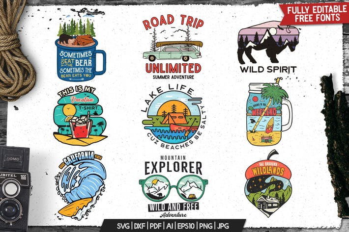 Thumbnail for Retro Outdoor Logos Set, Camping Adventure Badges