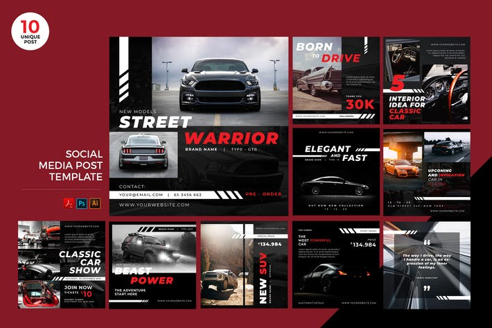Thumbnail for Car Automotive Social Media Kit PSD & AI Template