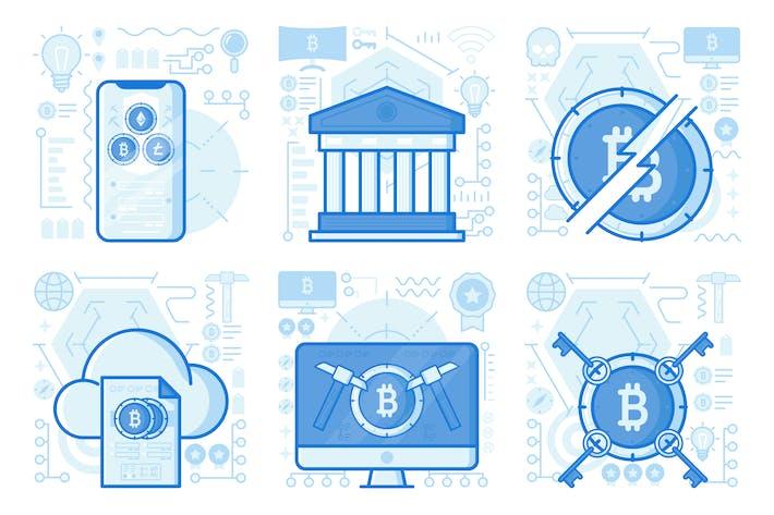 Thumbnail for Kryptowährung Smartphone UI UX Illustrationen