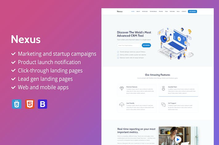 Thumbnail for Nexus - Premium SaaS Landing Page Template