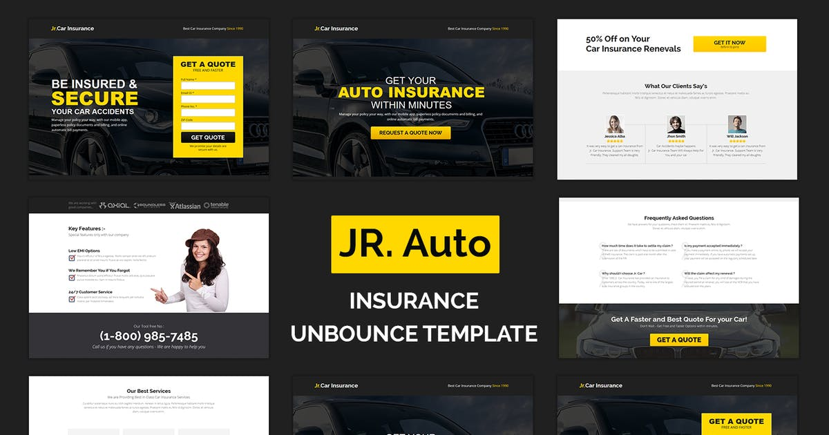 Download Jr. Auto Insurance Landing Page - Responsive by Muse-Master