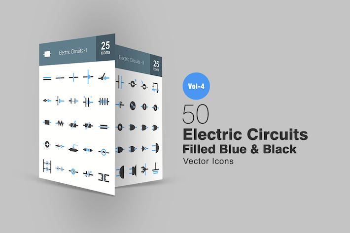 Thumbnail for 50 Электрические цепи синий и черный Иконки