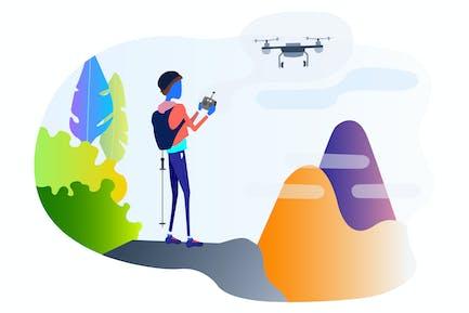 Illustration de l'escalade guidée par des drones