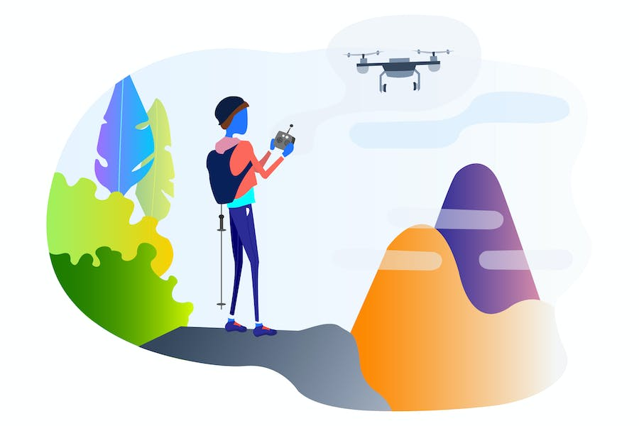 Guided Climbing by Drones Illustration