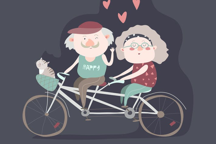 Thumbnail for Elderly couple riding a bicycle tandem. Vector
