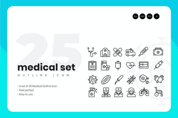 Thumbnail for 25 Medical Outline Icon Set