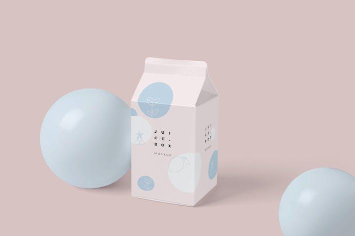 Thumbnail for Small Juice-Milk Packaging Box Mockups