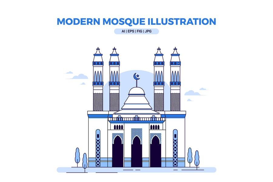 Modern Mosque Vector Illustration