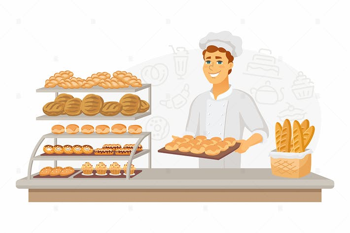 Thumbnail for Bakery - cartoon people character illustration