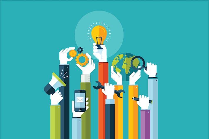Concepto de diseño plano para servicios en línea