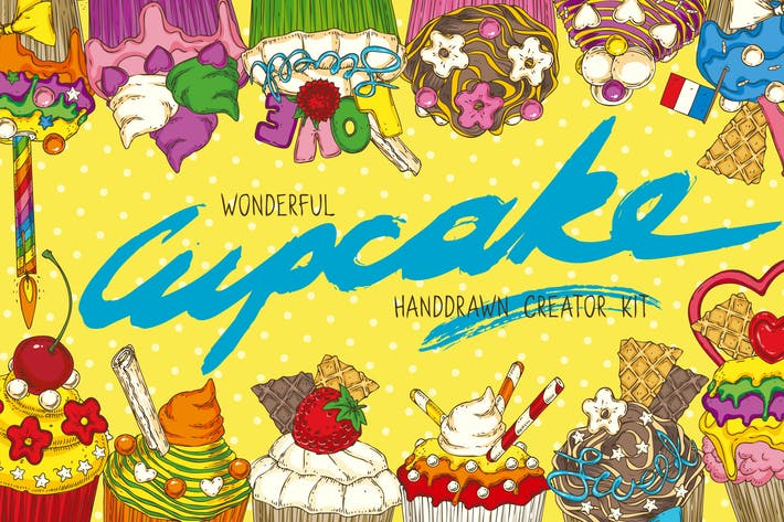 Thumbnail for Cupcake. Hand Drawn Creator Kit
