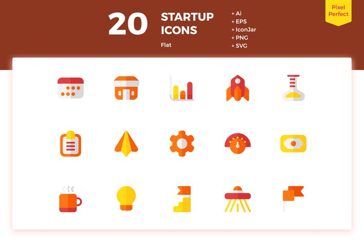 Thumbnail for 20 Startup Icons (Flat)