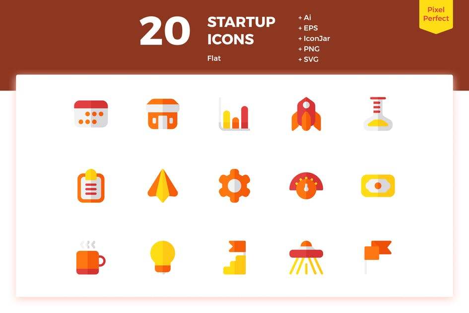Download 20 Startup Icons (Flat) by inipagi