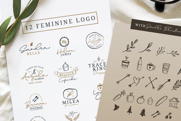 Thumbnail for 12 Feminine Logo + Doodle Illustration