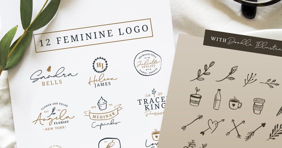 Download 12 Feminine Logo + Doodle Illustration by saridezra