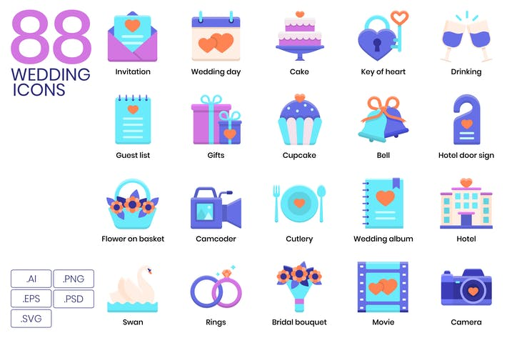 Thumbnail for 88 Wedding Icons & Celebration Icons
