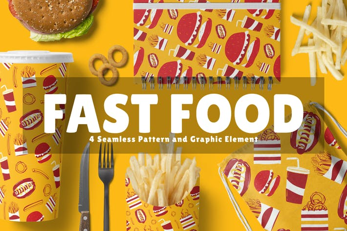 Thumbnail for Fast Food Seamless Pattern and Graphic Element