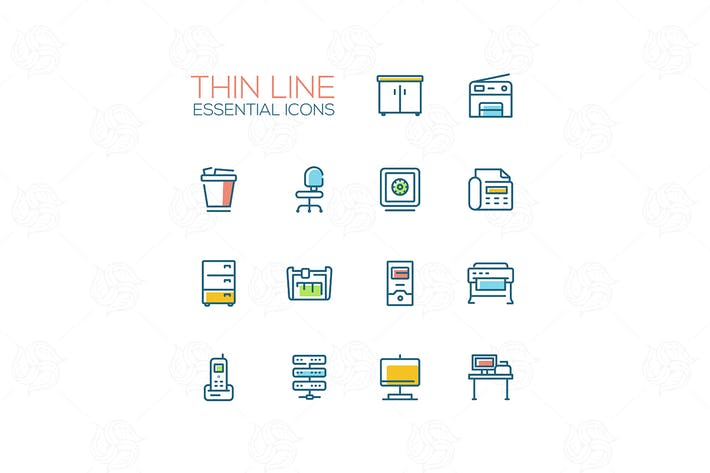 Office Supplies - Thin Single Line Icons Set