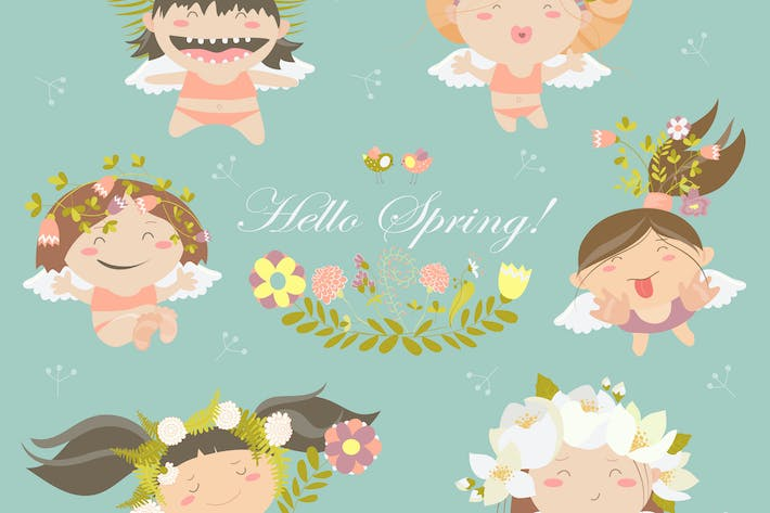 Thumbnail for Vector set of cute spring angels with flowers