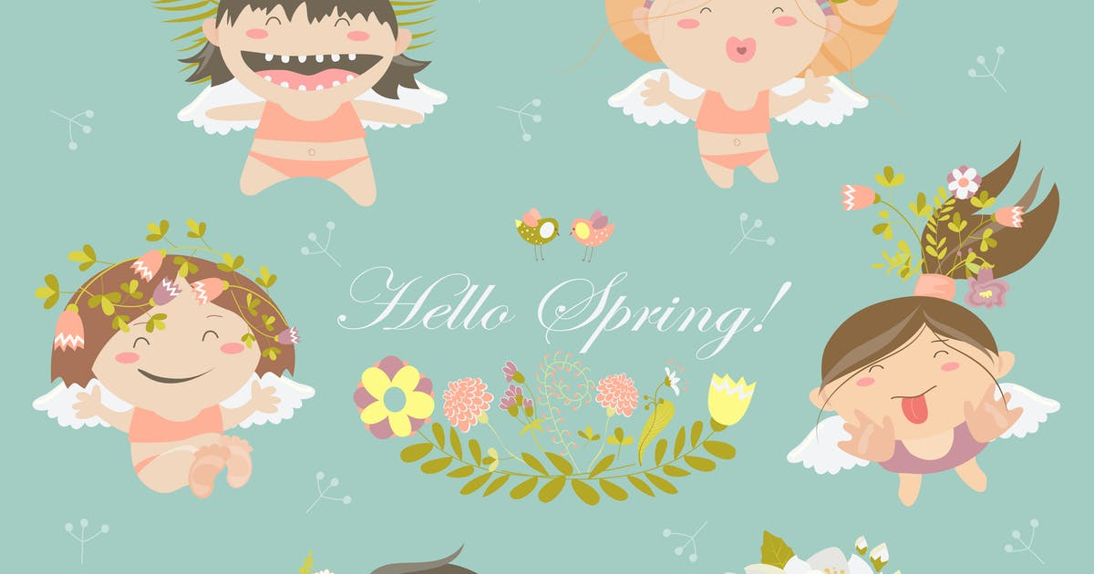 Vector set of cute spring angels with flowers by masastarus