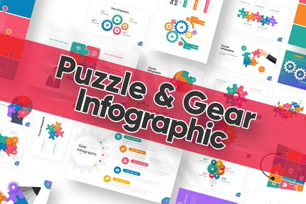 Puzzle & Gear Infographic Powerpoint Template