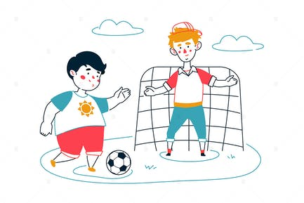 Children Playing Football - Line Illustration